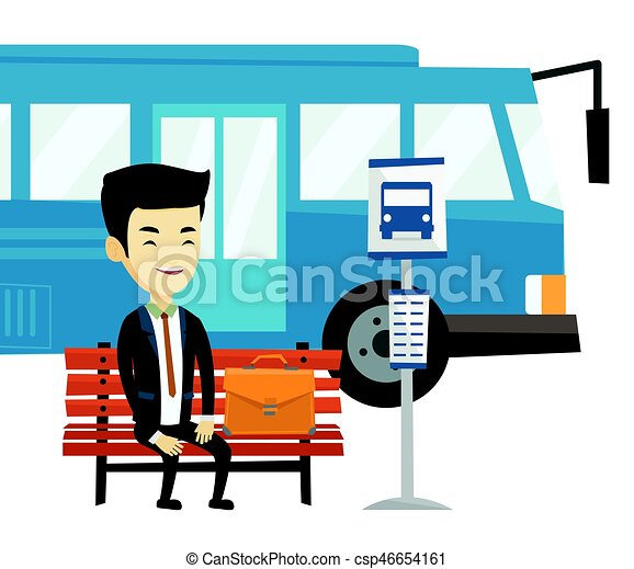 asian business man waiting at the bus stop young business clip rh canstockphoto com london bus stop clipart bus stop line clipart