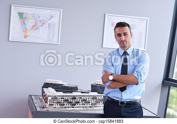 business man waiting for meeting to begin in Board room - csp15841883