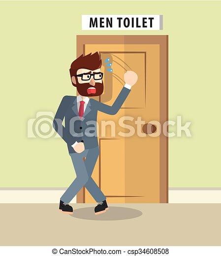Business Man Want To Go Bathroom Vector. Business man want to go bathroom vector clipart   Search