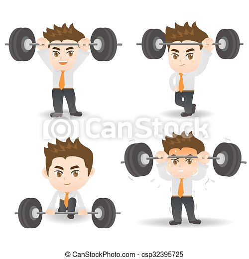 Business man weight lifting - csp32395725