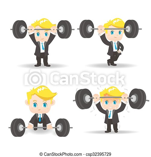Business man weight lifting - csp32395729
