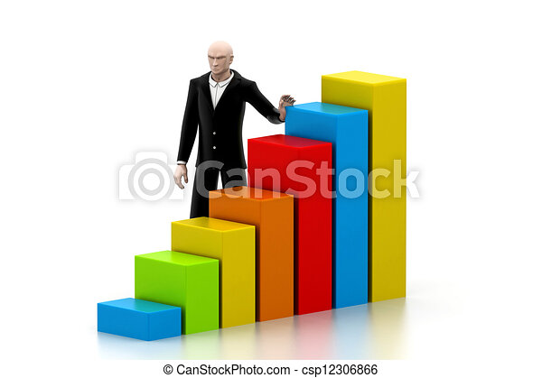 Business man with a growth graph - csp12306866