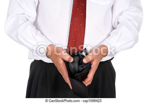 Business man with an empty wallet - csp1098423