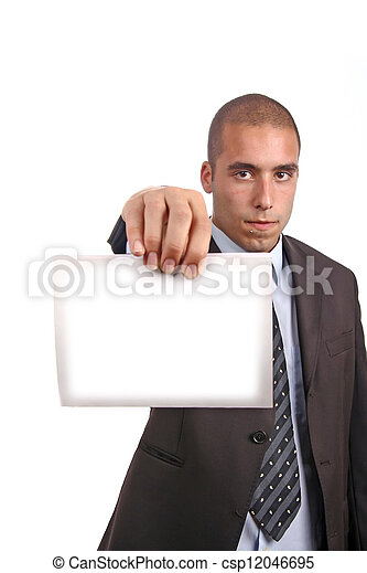 business man with an empty white card - csp12046695