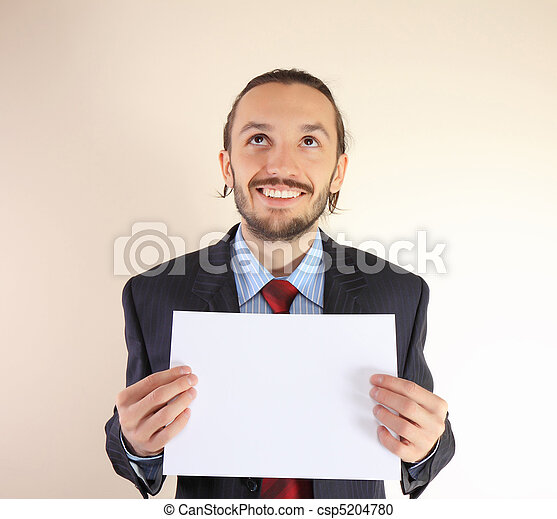 Business man with an empty white card - csp5204780