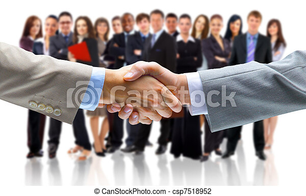 business man with an open hand ready to seal a deal - csp7518952