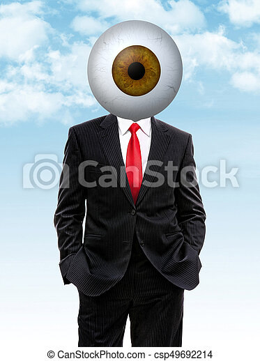 business man with brown eye ball instead of head - csp49692214