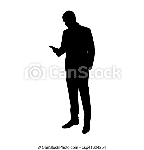 Business man with cell phone in his hand, vector ...