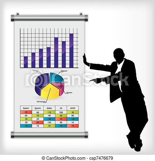 Business man with chart - csp7476679