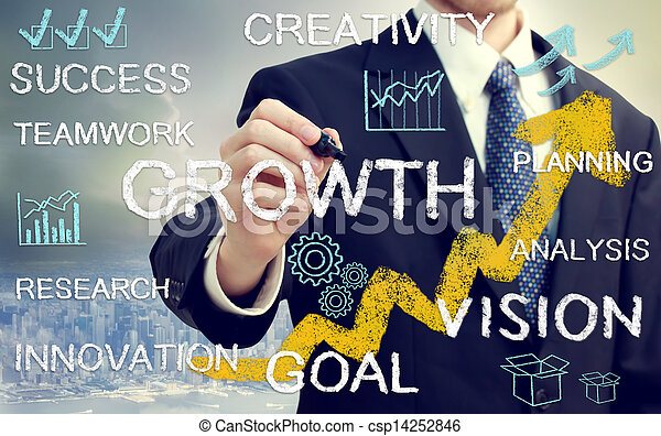 Business man with concepts representing growth, and success - csp14252846