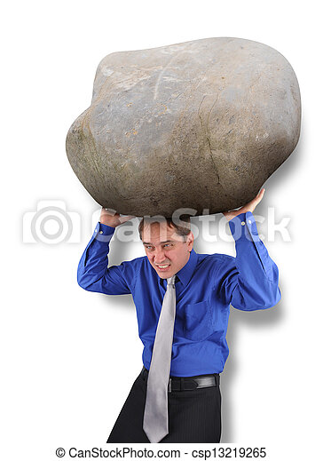 Business Man with Heavy Stress Rock  - csp13219265