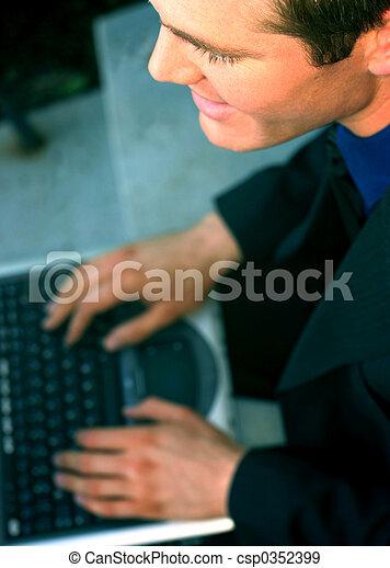 Business man with laptop 25 - csp0352399