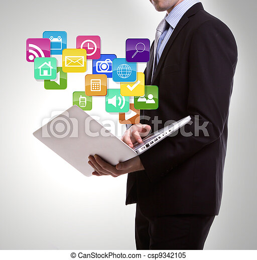 Business man with laptop and colorful application icons - csp9342105