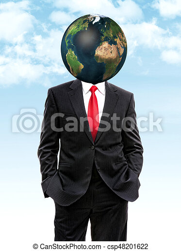 business man with planet earth instead of head - csp48201622