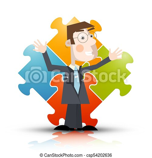Business Man with Puzzle on Background - Vector - csp54202636