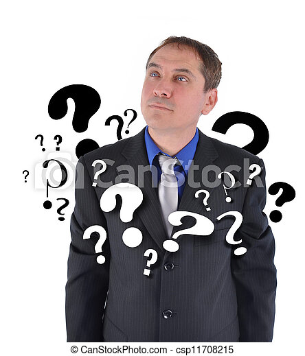 Business Man with Questions Thinking - csp11708215