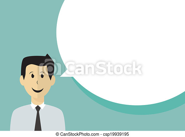 Business man with speech bubble - csp19939195