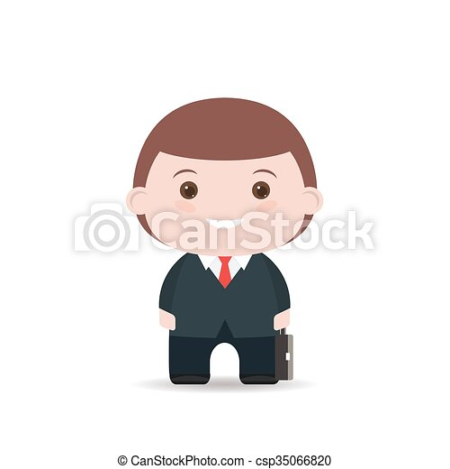 Business man with suitcase. Flat illustration isolated on white background. - csp35066820