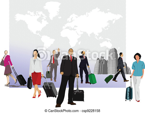 Business man with suitcase on worl - csp9228158