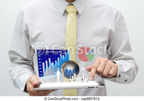 Business Man With Touch Pad
