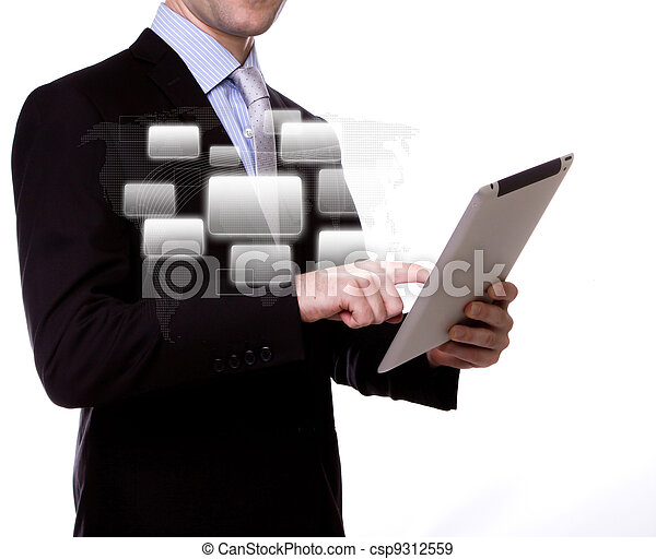 Business man with touch screen device - csp9312559