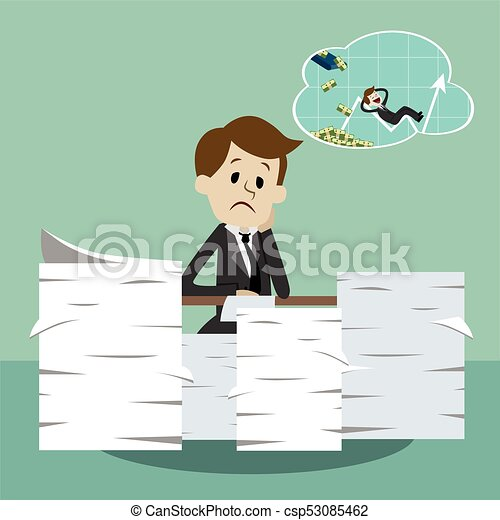 Business Man Working And Dreaming About Money Thinking Growing Chart Office