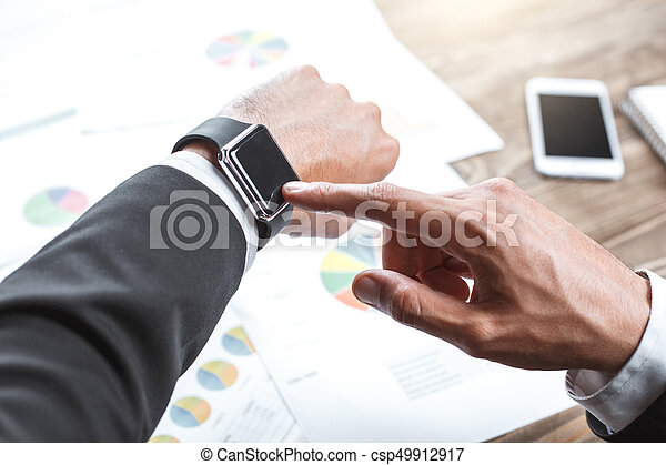 Business man working in the office job concept - csp49912917
