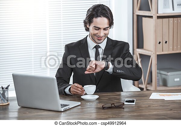 Business man working in the office job concept - csp49912964