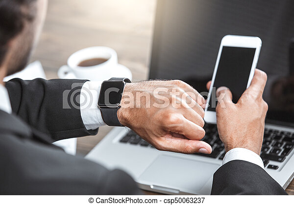 Business man working in the office job concept - csp50063237