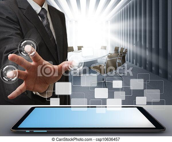business man working on modern technology - csp10636457