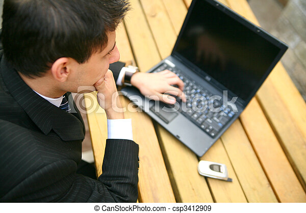 Business Man Working Outdoor - csp3412909