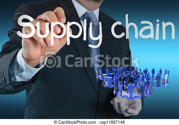 business man writing supply chain management concept by flow from supplier to customer - csp11897148