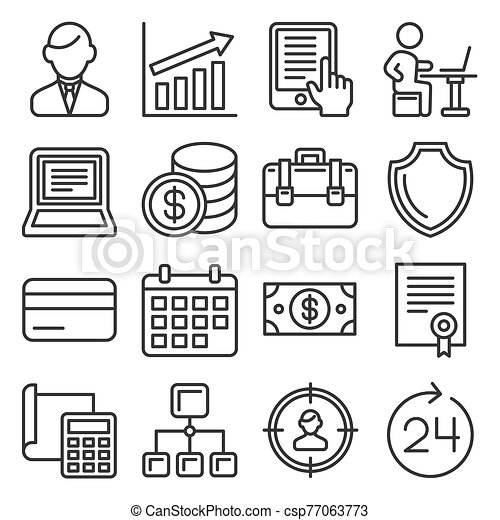 Business, Management and Human Resources Icons Set. Line Style Vector - csp77063773