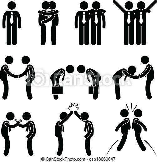 Business manner greetings gesture a set of human pictograms business manner greetings gesture csp18660647 m4hsunfo