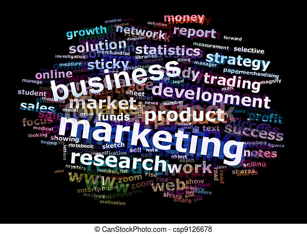 Business Marketing Word Cloud Advertising Concept - csp9126678