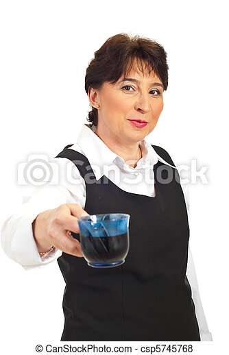 Business mature woman offering coffee - csp5745768
