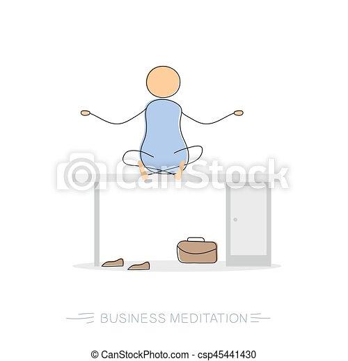 Business meditation - drawing man - csp45441430