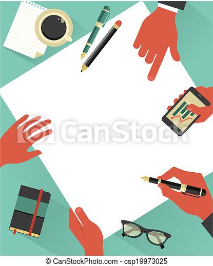 Business meeting background with hands, vector - csp19973025