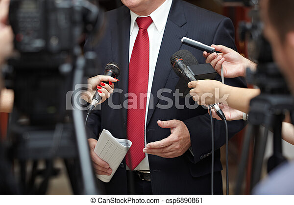 business meeting conference journalism microphones - csp6890861