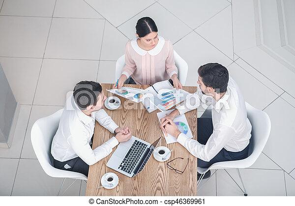 Business meeting in luxury restaurant - csp46369961