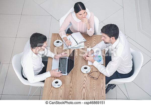 Business meeting in luxury restaurant - csp46869151