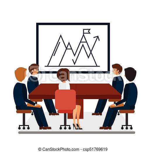 business meeting marketing presentation cartoon flat vector rh canstockphoto com business meeting clipart free business meeting agenda clipart