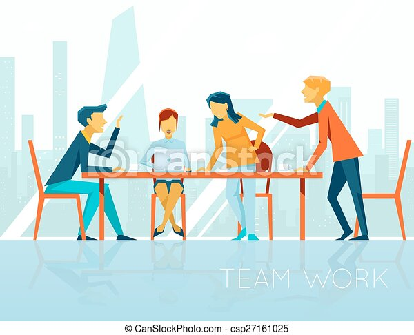 Business meeting. People talking and working in office - csp27161025
