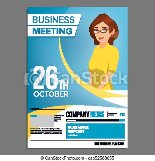 Business Meeting Poster Vector Business Woman Invitation For Conference Forum Brainstorming Cover Annual Report A4 Size Flat Cartoon