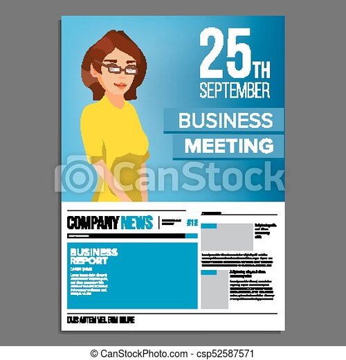 Business meeting poster vector business woman invitation business meeting poster vector business woman invitation and date conference template a4 stopboris Image collections