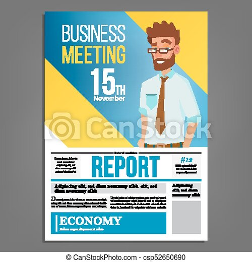 Business meeting poster vector businessman layout template business meeting poster vector businessman invitation and date conference template a4 size cover annual report flat cartoon illustration stopboris Images