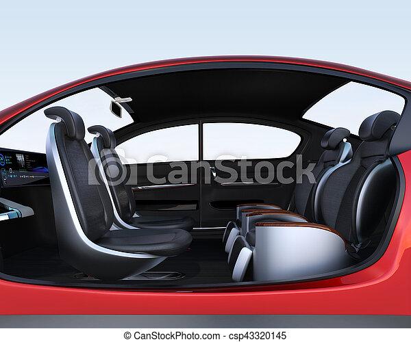 Business meeting seats' layout in autonomous car - csp43320145