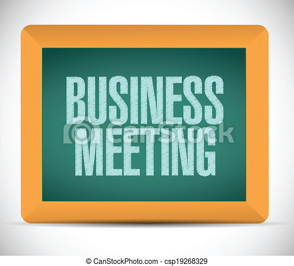 business meeting sign on a board. - csp19268329