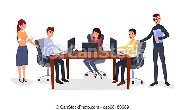 Business meeting, team management illustration - csp68180689