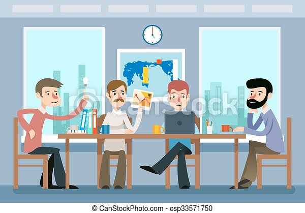 Business meeting. Team working office. Vector illustration in flat style - csp33571750